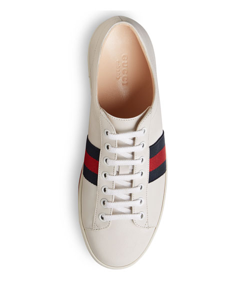 Peggy Striped Platform Sneakers, White