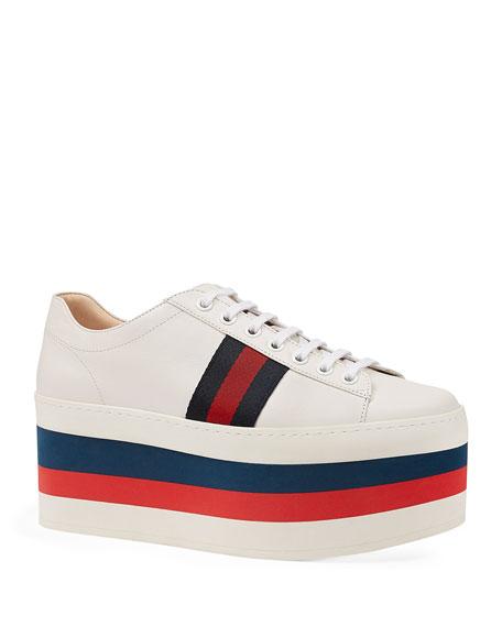 Peggy Striped Platform Sneaker, White