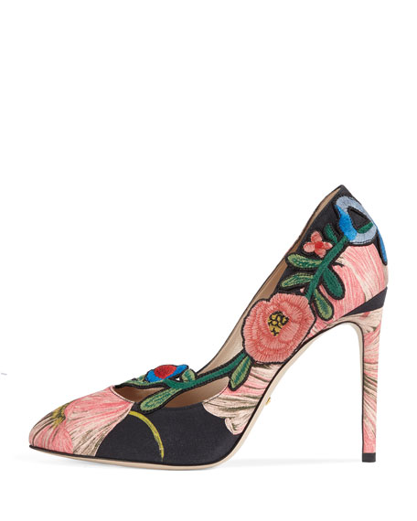 Ophelia Embroidered 105mm Pump, Black/Pink