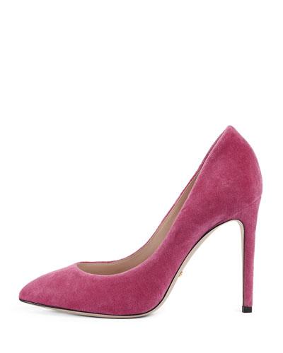 Velvet Web Mary Jane Pump, Pink