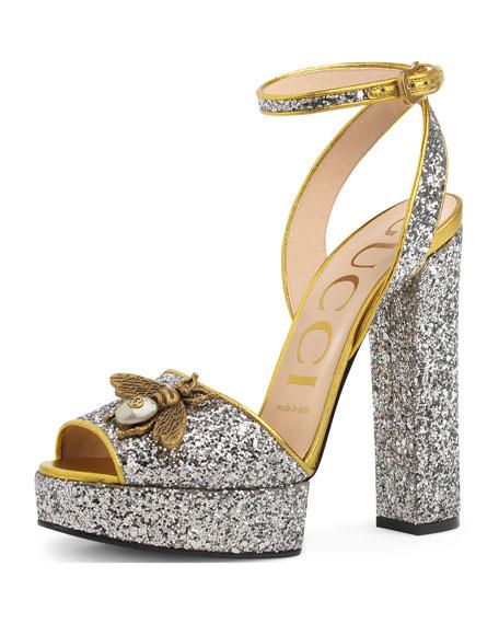 74c7409ca5526 Gucci Soko Glittered Ankle-Wrap Platform Sandals