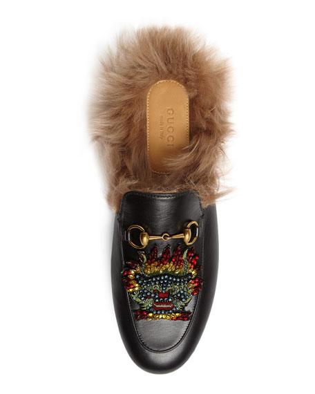 Princetown Embellished Fur-Lined Mule, Black