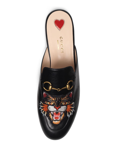 bedc942b373 Gucci Princetown Tiger-Embroidered Loafer Mule