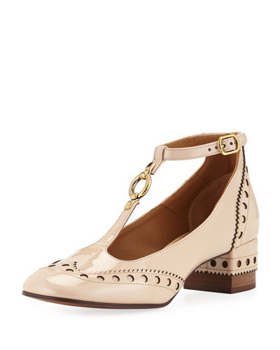 Perry Patent 45mm T-Strap Pump, Mild Beige