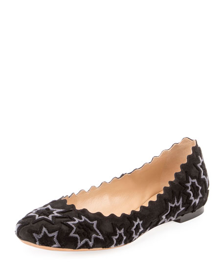 Lauren Embroidered Velvet Ballerina Flat, Black