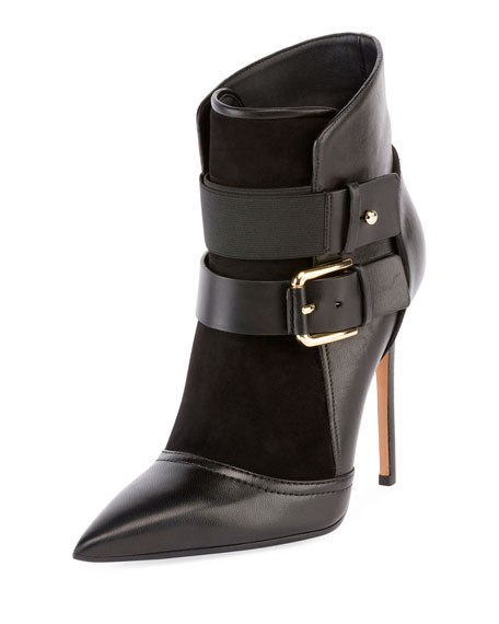 Leather Ankle Boots with Buckles and Suede