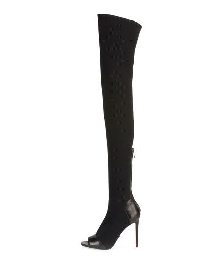 Aubane Knit Peep-Toe Thigh-High Boot, Black