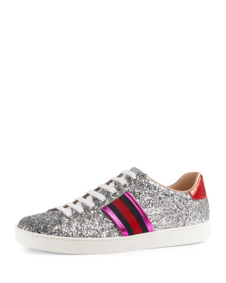 2522b038841 Gucci New Ace Glitter Low-Top Sneaker