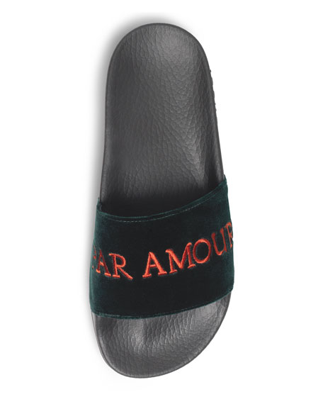 Pursuit Embroidered Velvet Pool Slide Sandal, Black