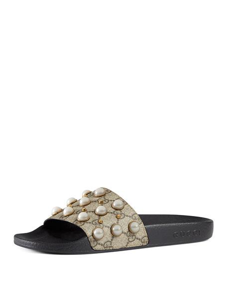 Gucci Pursuit Pearly-Studded GG Supreme Slide Sandal, Beige