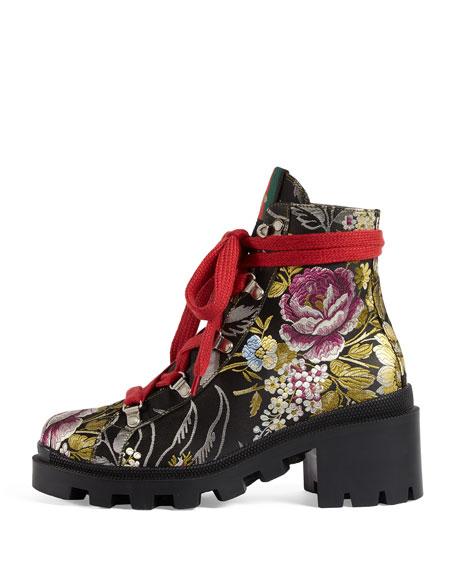 Trip Floral Jacquard Combat Boot