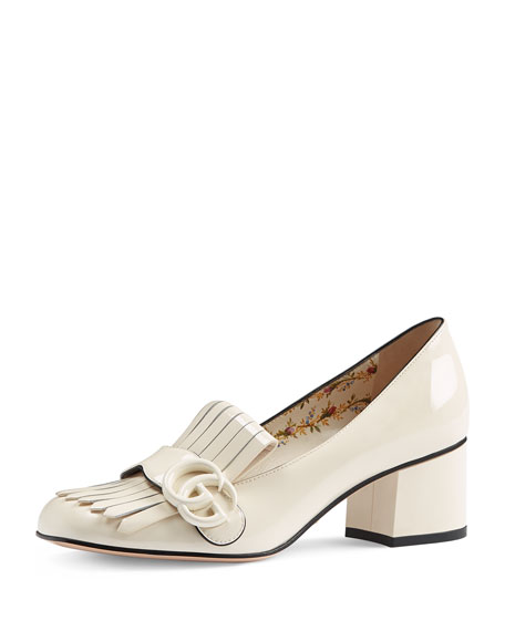 Marmont Patent Loafer Pump, White