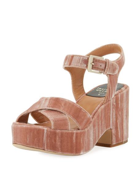 Nadine Velvet Platform Sandal, Pink
