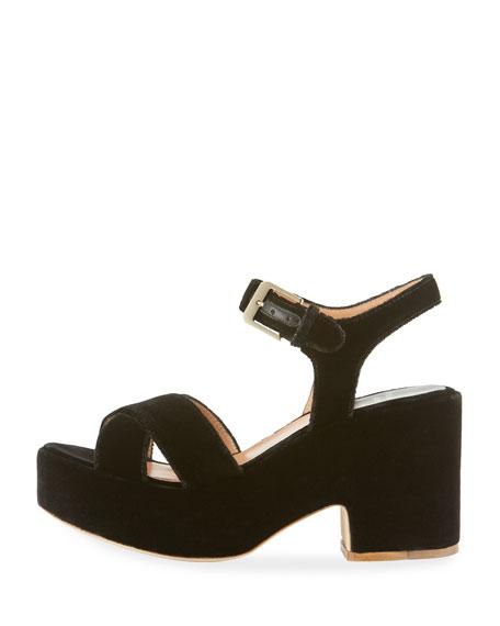 Nadine Velvet Platform Sandal, Black
