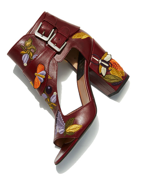 Rush Embroidered Leather Sandal, Red Pattern