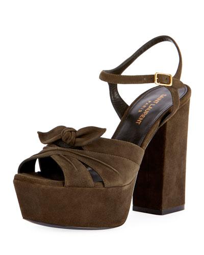 Farrah Platform Suede Sandal, Olive