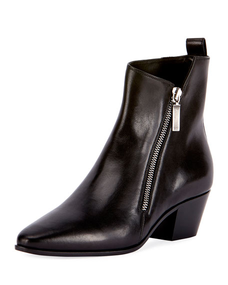 Saint Laurent Asymmetric-Zip Leather Bootie, Black