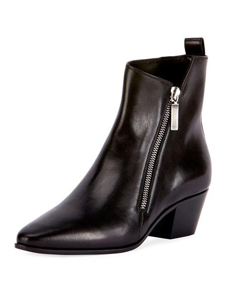 Asymmetric-Zip Leather Bootie, Black