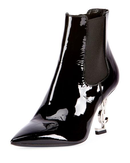Patent Leather Logo-Heel Boot, Black