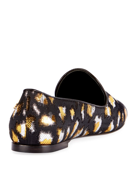 Metallic Twill Slip-On Loafer, Black