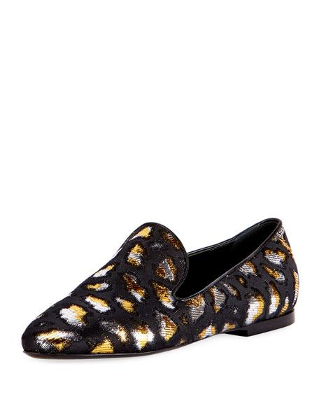 Metallic Twill Slip-On Loafer, Black