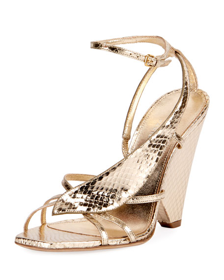 Saint Laurent Snakeskin Wedge Sandals footlocker cheap online purchase sale online discount for sale geniue stockist for sale free shipping sale AaaEV300UF
