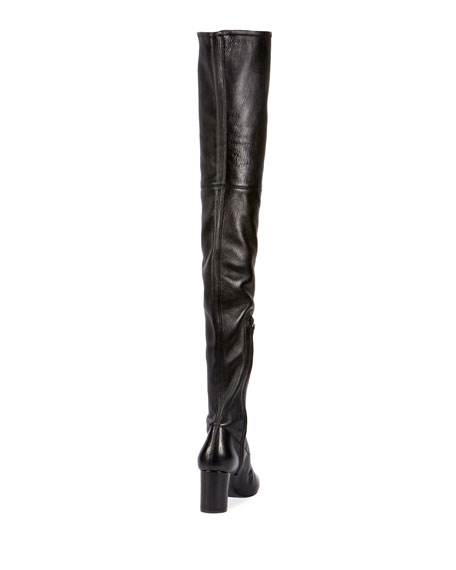 Loulou Stretch-Napa Over-the-Knee Boot, Black