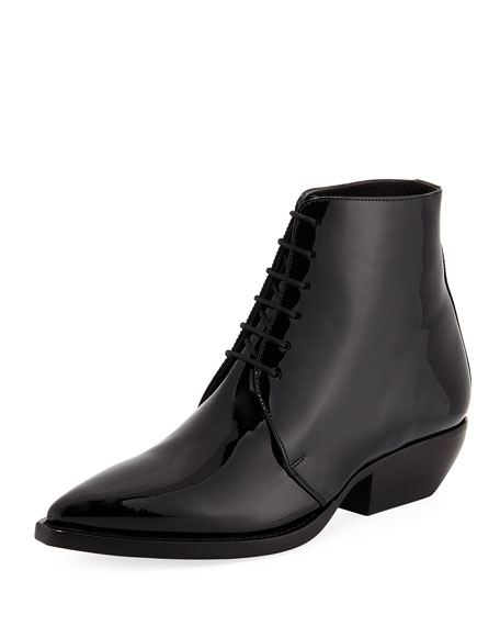 Patent Lace-Up Bootie