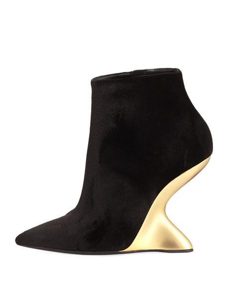 Velvet Bootie with Golden Wedge Heel, Nero