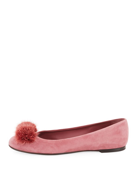 Fur-Bow Suede Ballerina Flat, Pink