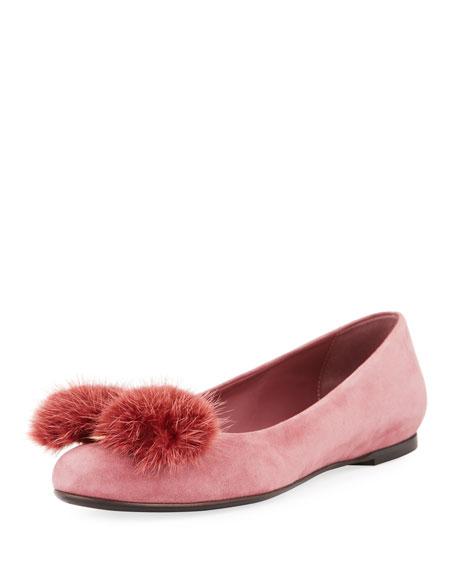 5e16639808b0 Salvatore Ferragamo Fur-Bow Suede Ballerina Flat