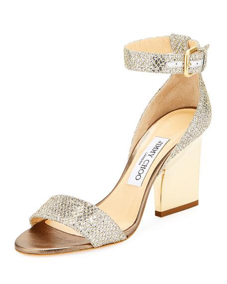 Jimmy Choo Edina Metallic Sandal, Champagne