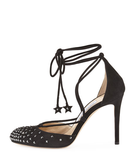 Kasey 100mm Star-Studded Ankle-Wrap Pump, Black