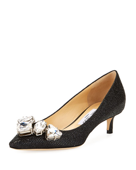 Jimmy Choo Marvel Glitter Fabric 40mm Pump, Black