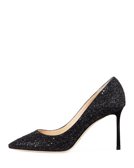 Romy 85mm Coarse Glitter Pump, Black