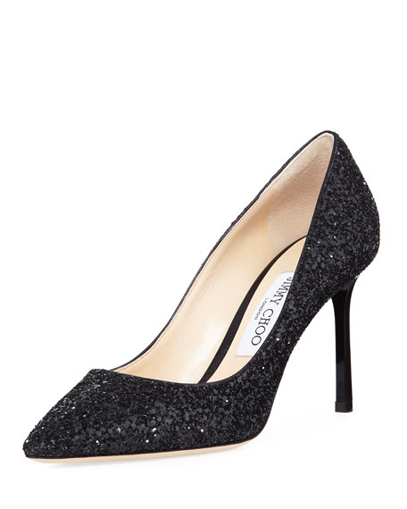 091cd54b51 Jimmy Choo Romy 85mm Coarse Glitter Pump, Black