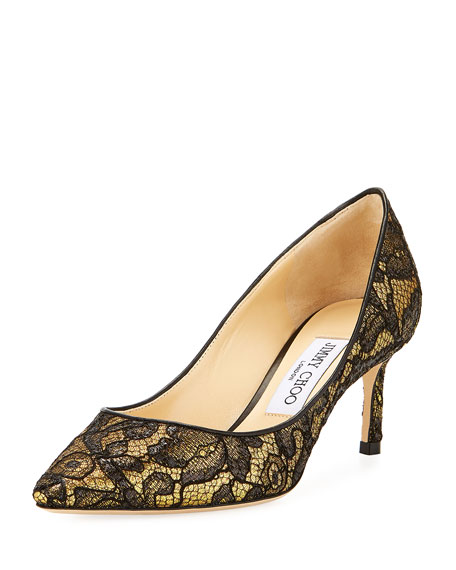 Romy Metallic Lace 60mm Pump, Black/Gold