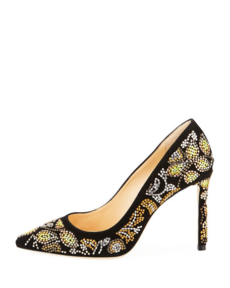 Romy 100mm Embroidered Suede Pumps, Black Metallic