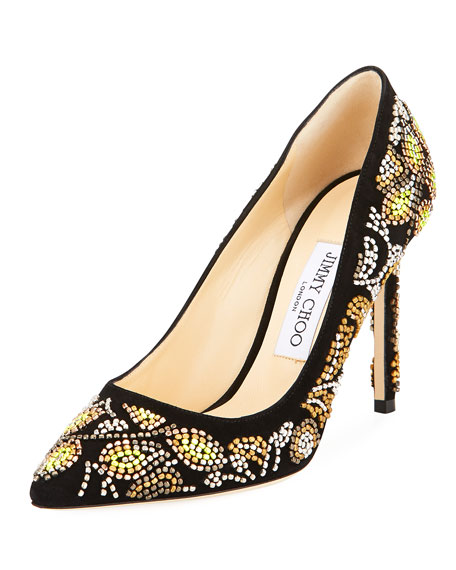 Jimmy Choo Romy Embroidered Suede Pump, Black Metallic