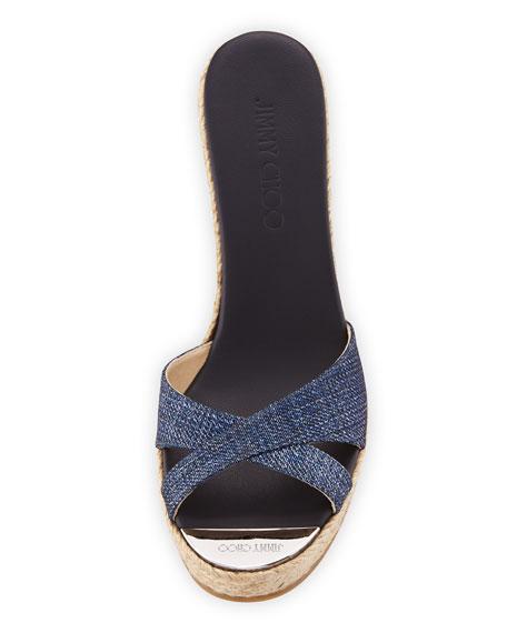 Perfume Denim Wedge Slide Sandal, Navy