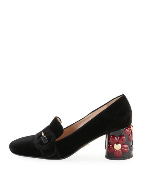 Velvet Floral-Heel Loafer Pump, Black