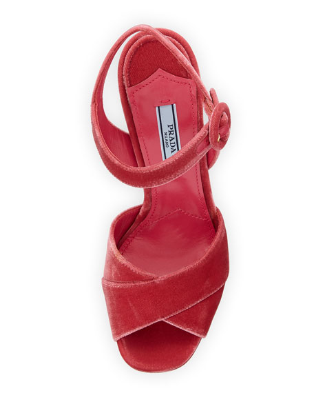 ffedafa43673d Prada Velvet Block-Heel Platform Sandal