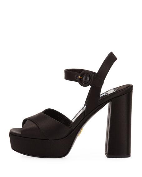 Satin Crisscross 115mm Platform Sandal, Black