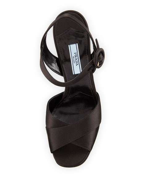 ccb8489f444 Prada Satin Crisscross 115mm Platform Sandals