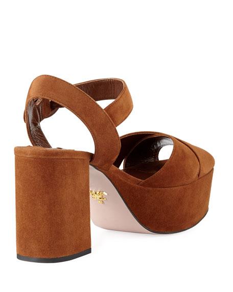 Suede Platform Ankle-Strap Sandal, Luggage
