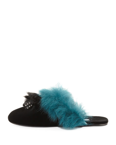 Tassel Fur-Trim Mule Slide