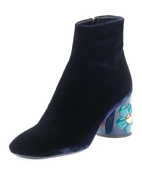 Velvet Floral-Heel Ankle Boot, Navy