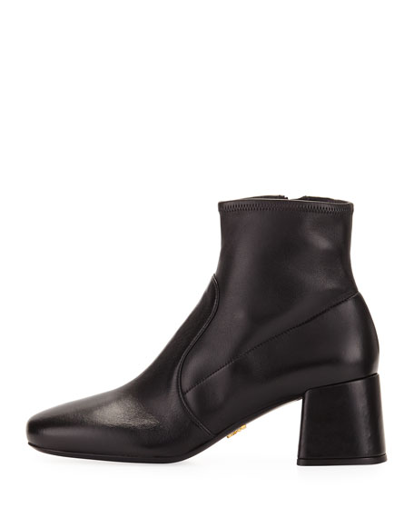 Stretch-Leather Block-Heel Bootie, Black