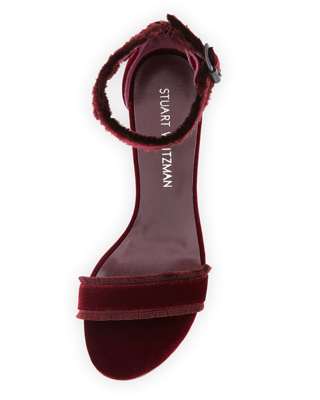 Frayed Velvet Block-Heel Sandal, Dark Red