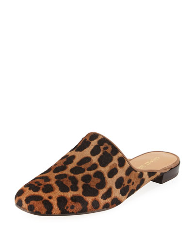 Mulearky Calf Hair Loafer Mule, Leopard